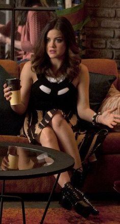 Aria's black and brown cutout dress and black spiked platform boots on Pretty Little Liars.  Outfit Details: https://wornontv.net/9426/ #PLL