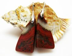 Natural Red River Jasper Earrings  by AVeryCoolEarringShop on Etsy