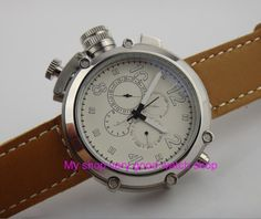 (105.00$)  Watch more here  - Left-handed model 50mm PARNIS white dial Automatic Self-Wind movement men's watch Multi-function Mechanical watches 252