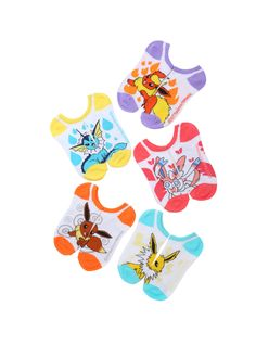 """<div>Perfect socks featuring the perfect starter <i>Pokemon</i>. These colorful no-show Eevee Evolution socks want to be the very best. Luckily, it's easy to catch all five pairs...because they're all included.</div><ul><li style=""""list-style-position: inside !important; list-style-type: disc !important;"""">One size fits most<br></li><li style=""""list-style-position: inside !important; list..."""