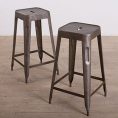 Cool industrial stools for Kitchen island: $191 Set of 2 Natural Steel Madurai Counter Stools (India) | Overstock.com