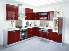 contemporary kitchen cabinets red and white theme