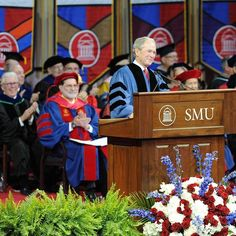 President George W. Bush gave the commencement address at Southern Methodist University's 100th graduation event, his first commencement address since leaving office, on May 16th.