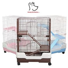 """Homey Pet 3 Tiers Chinchilla Hamster Rat Ferret Cage with Sleeping Platform, Pull out tray, Urine Guard and Lockable Casters, Brown, L26""""x W17""""x H38"""""""