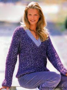 Вязание спицами пуловера с V образным вырезом
