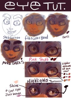 """polararts: """"Someone asked for an eye tutorial but it kind of turned into a paint tut, woops. Digital Painting Tutorials, Digital Art Tutorial, Art Tutorials, Digital Paintings, Drawing Techniques, Drawing Tips, Poses References, Eye Tutorial, Art Poses"""
