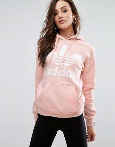 Discover Fashion Online // adidas Originals Pink Trefoil Boyfriend Hoodie