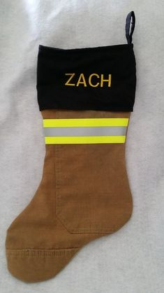 Christmas stocking made from recycled firefighter gear.