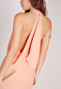 Missguided - Cowl Back Maxi Dress Nude
