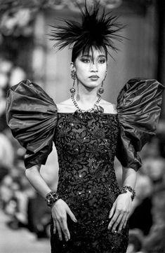 Vintage Couture, Vintage Fashion, Asian Supermodel, Yves Saint Laurent Paris, What Is Fashion, Genie, Rive Gauche, Haute Couture Fashion, Puff Sleeves
