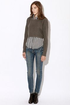 Urban Outfitters: cropped sweater over button up