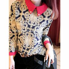 2014 blouses women print turn-down casual vintage plus size long sleeve chiffon shirts ladies blusas camisa free shipping $12.94