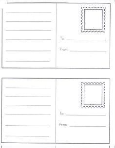 Dramatic Play Center Ideas Post Cards~ play Learning our addresses. Idea: Have children write a letter to send to their own home. Chart how long it takes the child to get their post card. Have an address book available in the writing center for Dramatic Play Area, Dramatic Play Centers, Kindergarten Writing, Kids Writing, Writing Centers, Letter Writing, Writing Center Preschool, Writing Ideas, Printable Postcards
