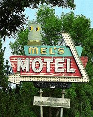 Mel's Motel (Roadside Gallery) Tags: travel sky signs vintage hotel neon motel retro signage americana 50s arrow roadside googie midcentury motelsign hotelmotel vintagemotels signsvintagemotelsmelsmotelowl motelsold roadsidegallery