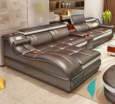 Dream Living Room Sectional - Ultimate Couch Giant Leather Sectional With Integrated Massage Chair and Speakers. Corner Sofa Design, Living Room Sofa Design, Living Room Furniture, Living Room Designs, Sofa Furniture, Modern Sofa Designs, Unique Sofas, Muebles Living, Leather Sectional Sofas