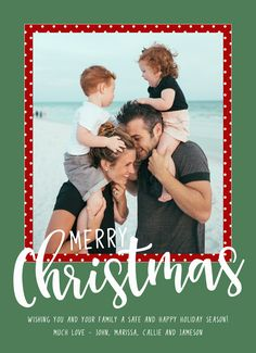 Personalize this red and green holiday greeting card with your photo and holiday message and send them out to all your friends and family! | CatPrint Design #814