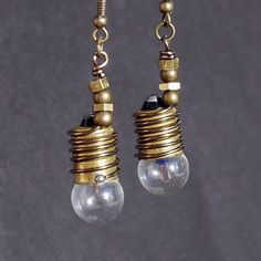 lightbulb crafts | ... Jewelry- Brass Light Bulb Earrings by Tanith on Etsy | Craft Juice