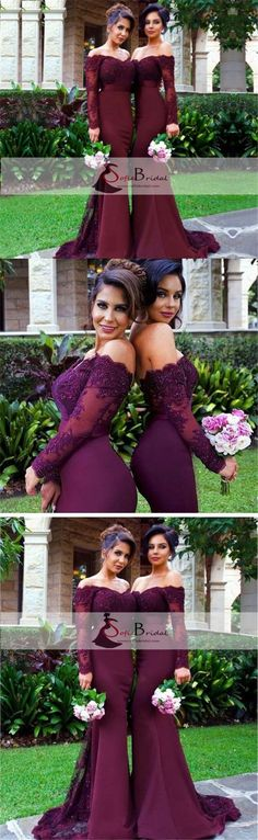 Sexy Burgundy Mermaid Long Sleeve Lace Long Bridesmaid Dresses with Small Train for Mother of Bride, WG153 #Sofiebridal #promdresses #longpromdresses #bridesmaiddresses