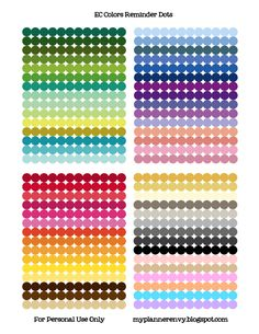 "1/4"" Reminder Dots in the ECLP color schemes - Free planner printable stickers - My Planner Envy"