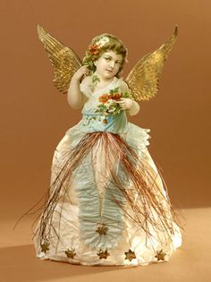 many Victorian Christmas trees were trimmed with ornaments formed with wax in the shape of angels and children. Also cotton-wool ornaments were used Antique Christmas Decorations, Victorian Angels, Victorian Christmas Ornaments, Christmas Fairy, Christmas Past, Vintage Ornaments, Xmas Ornaments, Christmas Angels, Handmade Christmas