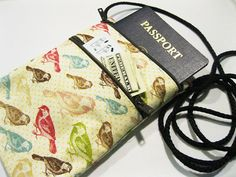 Small travel pouch Fabric passport holder Cell by KapomCrafts.etsy.com