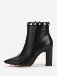 Boots by BORNTOWEAR. Rockstud Detail Pu Ankle Boots