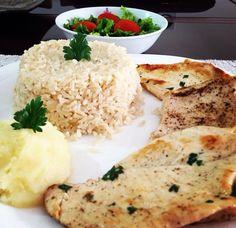 .Almoço: 300g de arroz integral, 100g de batata inglesa, 300g de frango e salada a vontade.