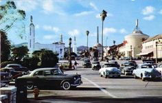 Looking northward across Wilshire Boulevard into Westwood Village from the southwest corner of Westwood and Wilshire (ca. 1956)