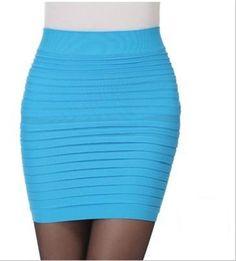 Women short Skirt High Waist Summer Tutu Pleated skirt Candy Color Bottom Hip mini A-Line chiffon Bandage Pencil One step skirt