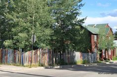 Picket fence made of old skis, Leadville, Colorado