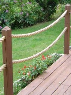 """Decorative rope up the """"approach"""" to the dock.  Very nautical.  Very swing-a-docious."""
