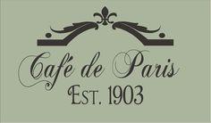 French Stencil Cafe' de Paris 8 Tall x 13 by SuperiorStencils, $15.95