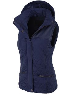 LE3NO Womens Faux Fur Quilted Puffer Jacket Vest with Detachable Hoodie