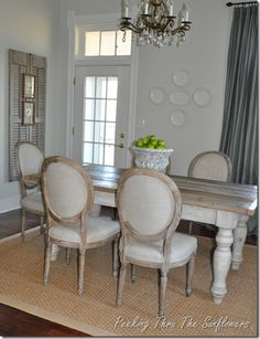 Love the farmhouse table with these more formal chairs.