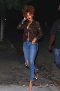 Rihanna steps out in a sequined open front jacket, jeans and Tom Ford Padlock sandals