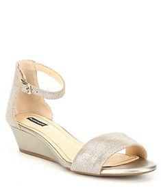 06da578a6410 Alex Marie Mairitwo Metallic Leather Ankle Strap Wedge Sandals