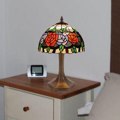 Lámpara de sobremesa Rosy cristal Tiffany