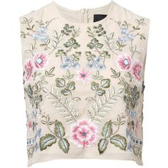 Needle and Thread Beige Spring Embroidery Sleeveless Top (200 CAD) ❤ liked on Polyvore featuring tops, shirts, crop top, blusas, beige shirt, zip crop top, holiday shirts and evening tops