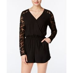 One Clothing Juniors' Surplice Lace Romper ($22) ❤ liked on Polyvore featuring jumpsuits, rompers, black, surplice romper, playsuit romper, one clothing romper, lace rompers and party rompers