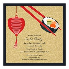 If You Are Looking For A Sushi Dinner Invitation Cards Then This Beautiful Party