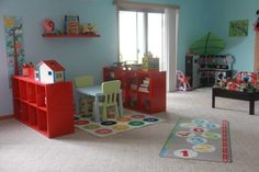 Daycare/Preschool Area, This is my daycare area. I love it but would love any ideas on how to make it better too! I am doing a couple dr seuss murals on the wall, getting a sensory table and puppet theater, and getting a couch and chair to add to my reading area. I will be adding end tables and a coffee table to make it look like a living room setup and to have more seating for my kids., Girls Rooms Design