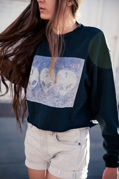 love the crew neck Moda Outfits, Cute Outfits, Soft Grunge, Alternative Rock, Indie, Hipster, Punk, Tips Belleza, Boho