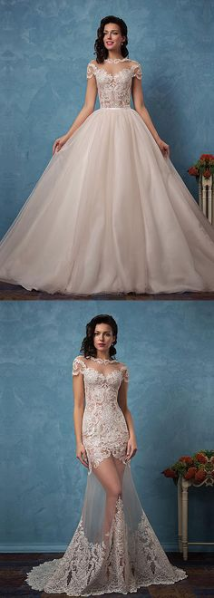 Stunning Tulle & Satin Bateau Neckline See-through 2 In 1 Wedding Dresses With Lace Appliques
