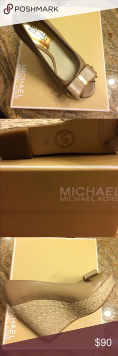 Michael Kors Wedges Michael Kors Wedges - Meg Wedge - Khaki Color - Excellent Condition - Work once - Size 6 KORS Michael Kors Shoes Wedges