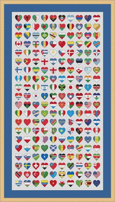 200 flags of the world each depicted in a 1 inch heart shape to make this amazingly detailed chart supplied as a full colour PDF cross stitch