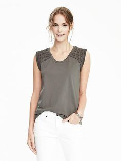 Embroidered-Sleeve Cotton Top
