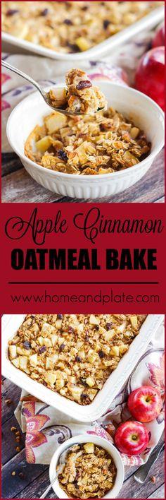 Apple Cinnamon Oatmeal Bake | www.homeandplate.com | Enjoy this easy to make Apple Cinnamon Oatmeal casserole recipe any weekend or holiday morning.
