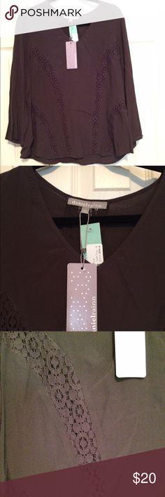 daniel rainn pica crochet blouse dark gray size L daniel rainn pica crochet blouse dark gray size Large.  Original from stitch fix.  The top is new with tags. Daniel Rainn Tops Blouses