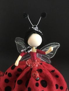 These are my lady bugs Fairies. They are wearing felt red polka dots dress adorn with lady bugs on their dress. They have feelers made from craft wire and Pom Pom. They may vary slightly in height and length and no two are like. My fairy dolls are liked and bought for all ages. They are