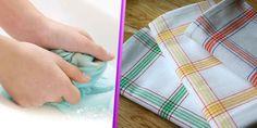 lavando e tirando manchas dos panos de prato